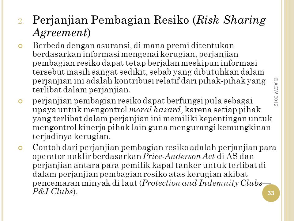 Perjanjian Pembagian Resiko (Risk Sharing Agreement)