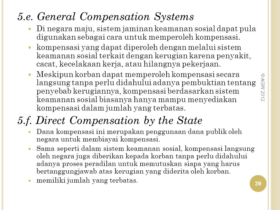 5.e. General Compensation Systems