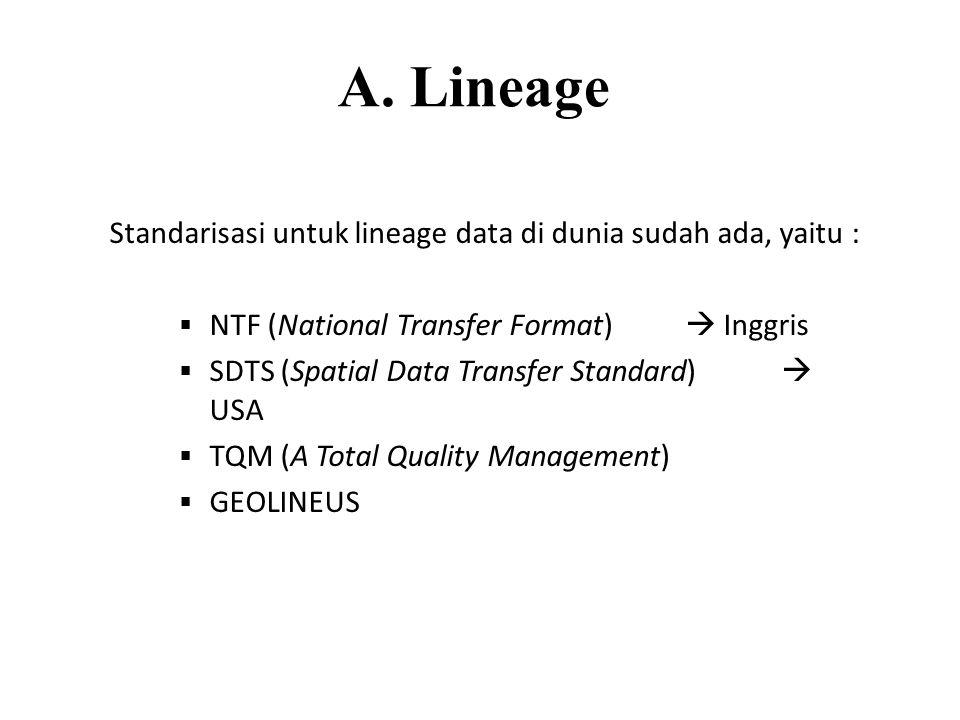 A. Lineage Standarisasi untuk lineage data di dunia sudah ada, yaitu :
