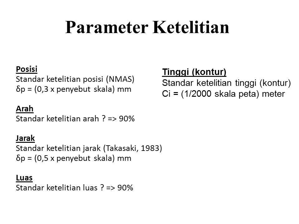 Parameter Ketelitian Posisi Tinggi (kontur)