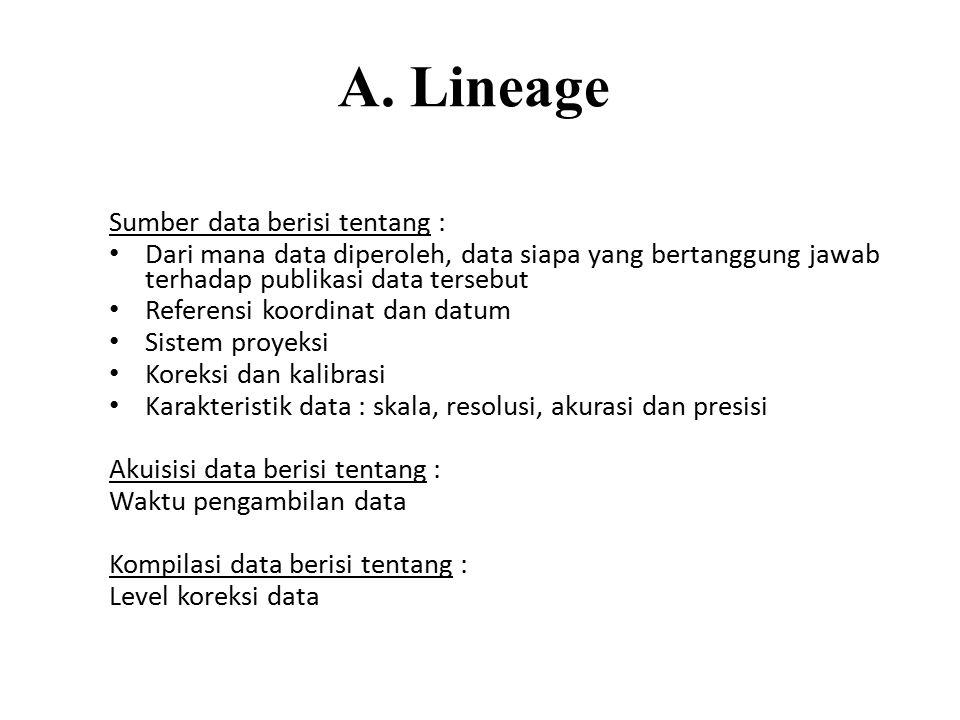 A. Lineage Sumber data berisi tentang :