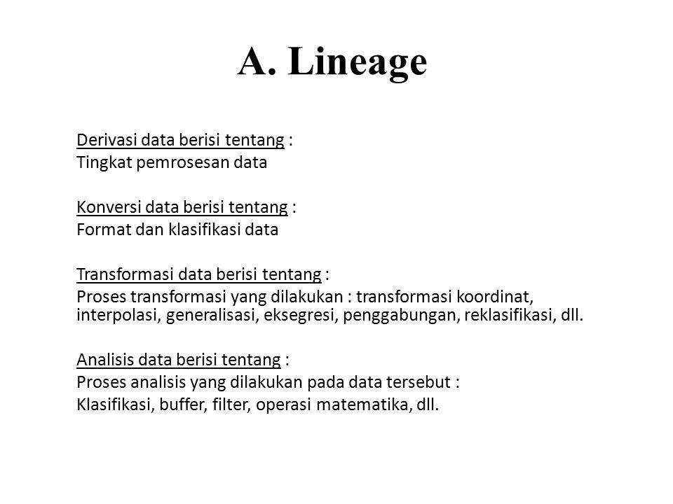 A. Lineage Derivasi data berisi tentang : Tingkat pemrosesan data