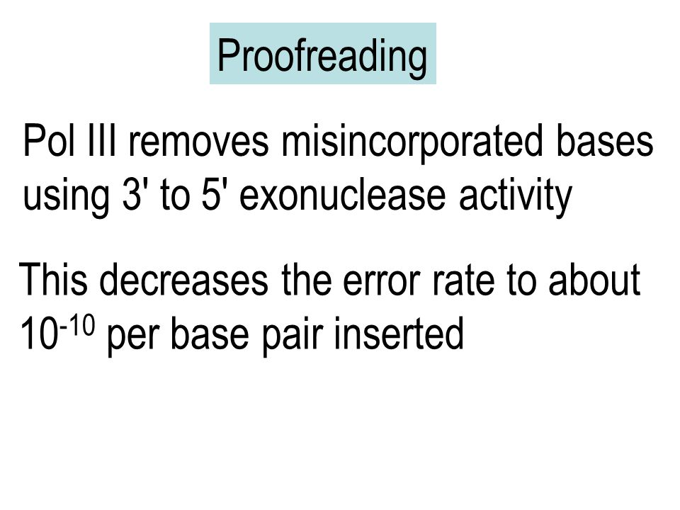 Proofreading Pol III removes misincorporated bases. using 3 to 5 exonuclease activity. This decreases the error rate to about.