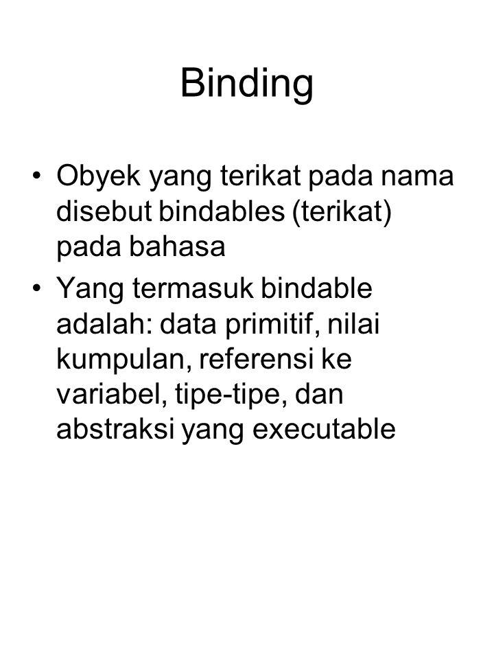 Binding Obyek yang terikat pada nama disebut bindables (terikat) pada bahasa.