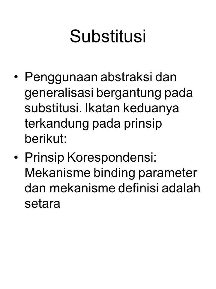 Substitusi Penggunaan abstraksi dan generalisasi bergantung pada substitusi. Ikatan keduanya terkandung pada prinsip berikut: