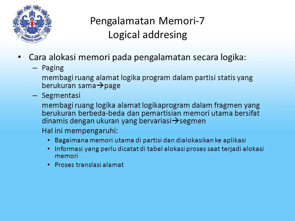 Pengalamatan Memori-7 Logical addresing