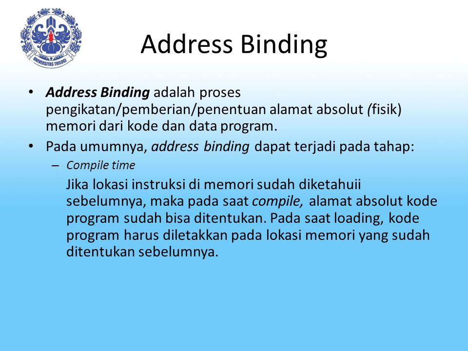 Address Binding Address Binding adalah proses pengikatan/pemberian/penentuan alamat absolut (fisik) memori dari kode dan data program.