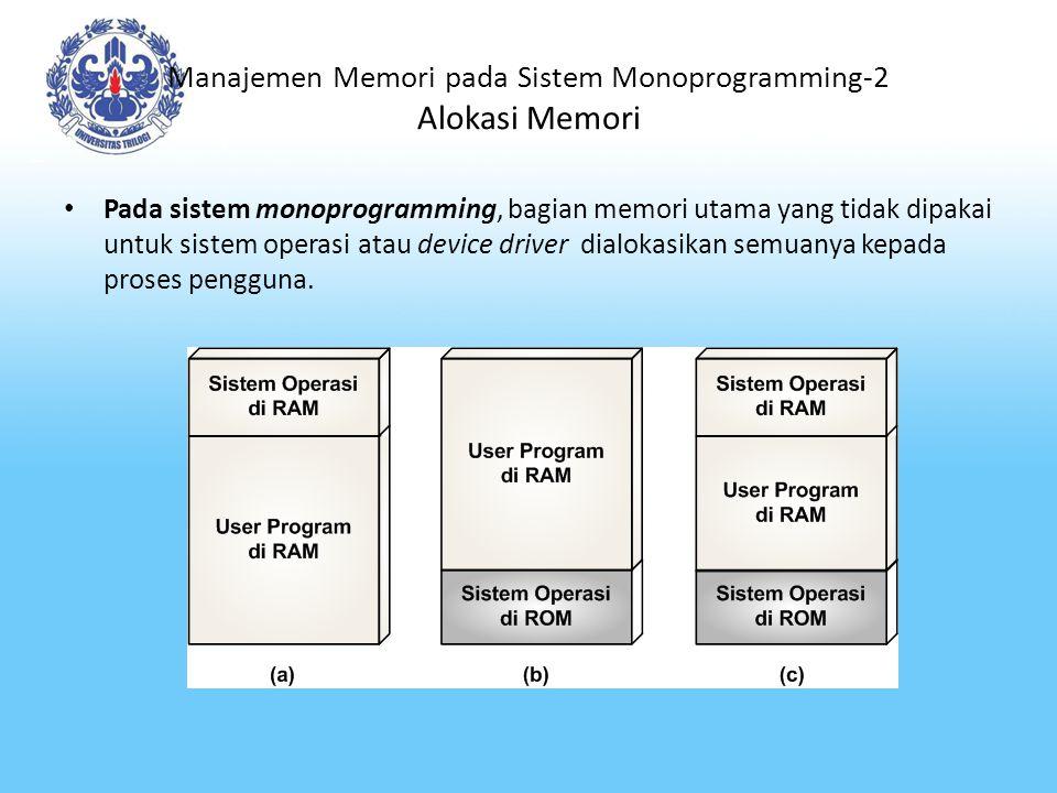Manajemen Memori pada Sistem Monoprogramming-2 Alokasi Memori
