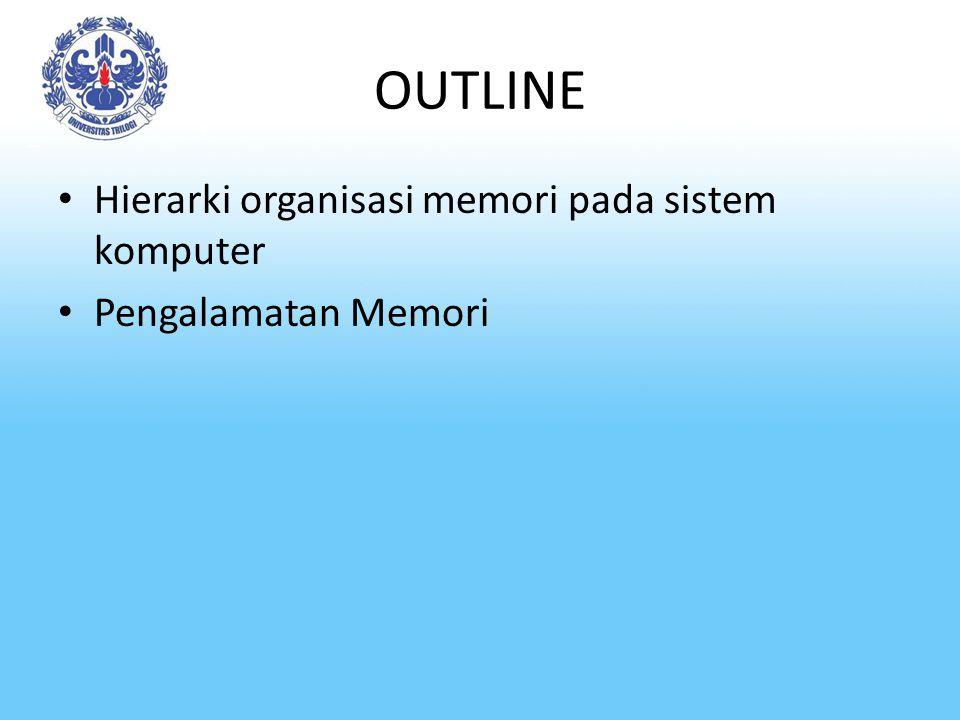 OUTLINE Hierarki organisasi memori pada sistem komputer