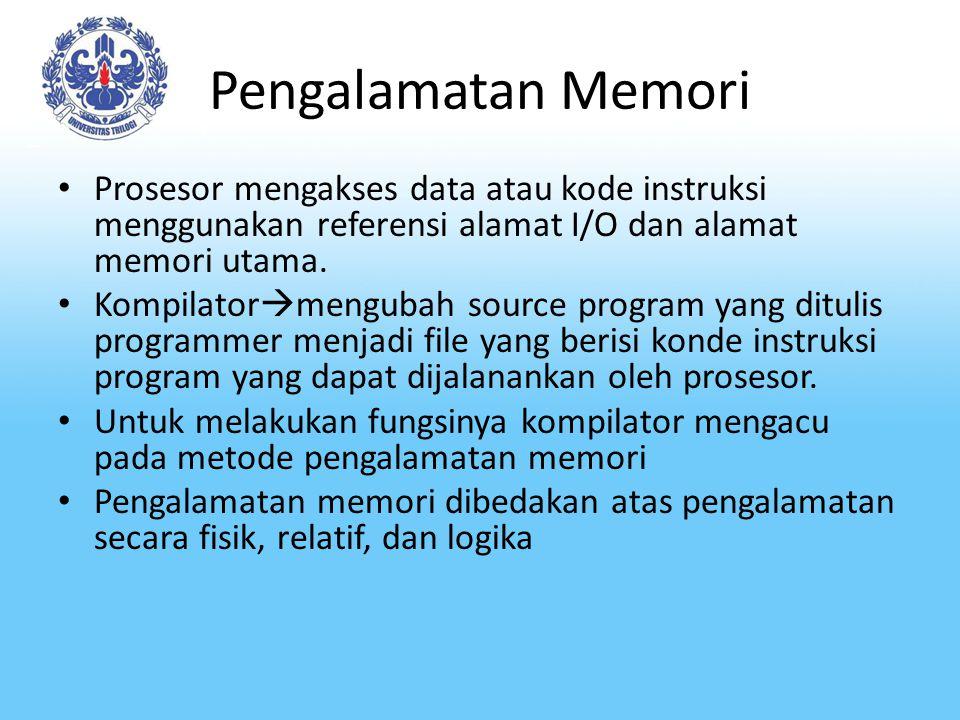 Pengalamatan Memori Prosesor mengakses data atau kode instruksi menggunakan referensi alamat I/O dan alamat memori utama.