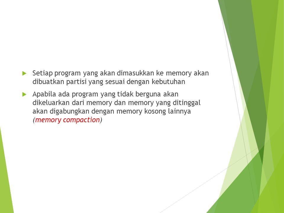 Setiap program yang akan dimasukkan ke memory akan dibuatkan partisi yang sesuai dengan kebutuhan