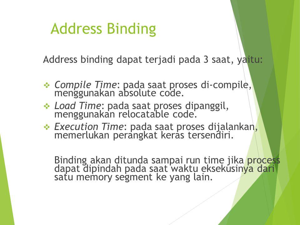 Address Binding Address binding dapat terjadi pada 3 saat, yaitu:
