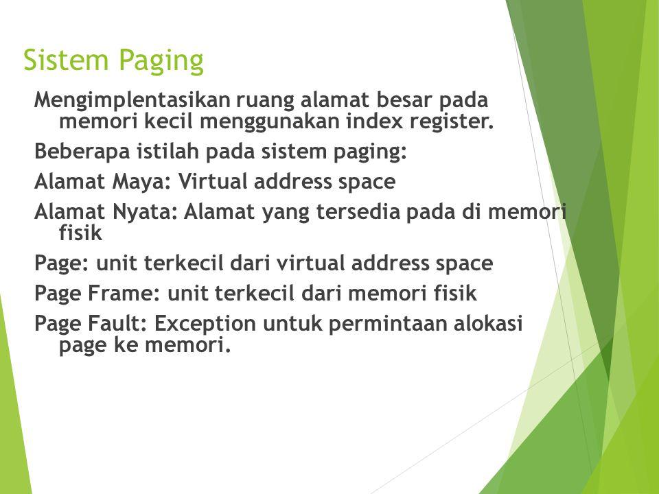 Sistem Paging Mengimplentasikan ruang alamat besar pada memori kecil menggunakan index register. Beberapa istilah pada sistem paging: