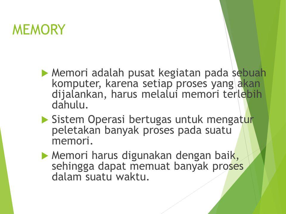 MEMORY Memori adalah pusat kegiatan pada sebuah komputer, karena setiap proses yang akan dijalankan, harus melalui memori terlebih dahulu.