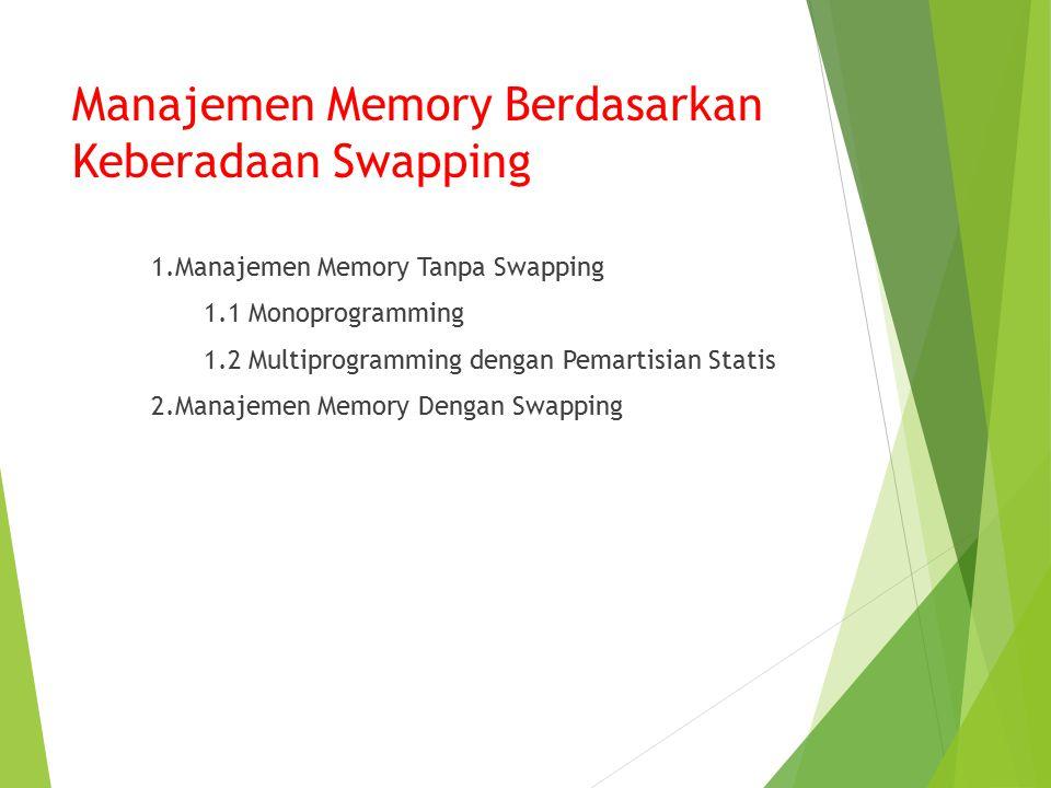 Manajemen Memory Berdasarkan Keberadaan Swapping