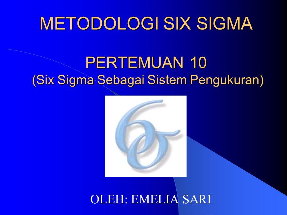 METODOLOGI SIX SIGMA PERTEMUAN 10 (Six Sigma Sebagai Sistem Pengukuran)