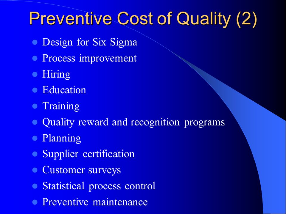 Preventive Cost of Quality (2)