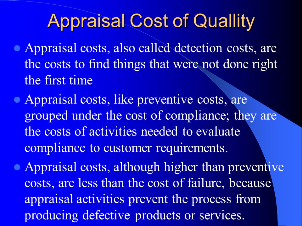 Appraisal Cost of Quallity