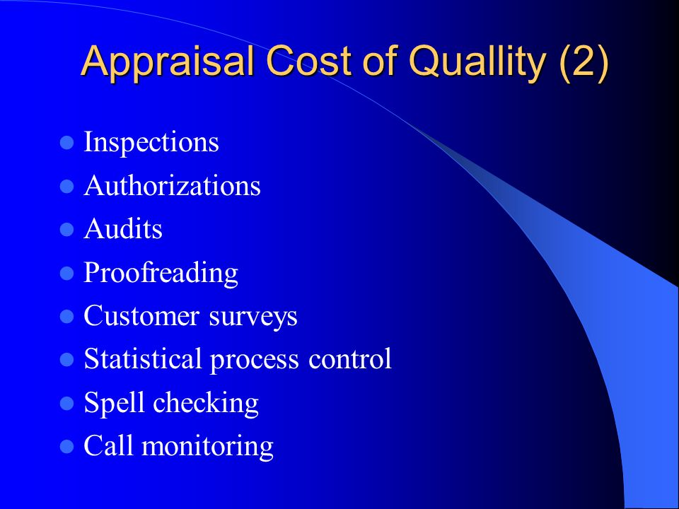 Appraisal Cost of Quallity (2)