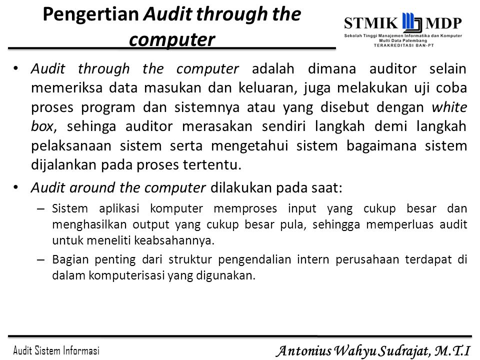 Pengertian Audit through the computer