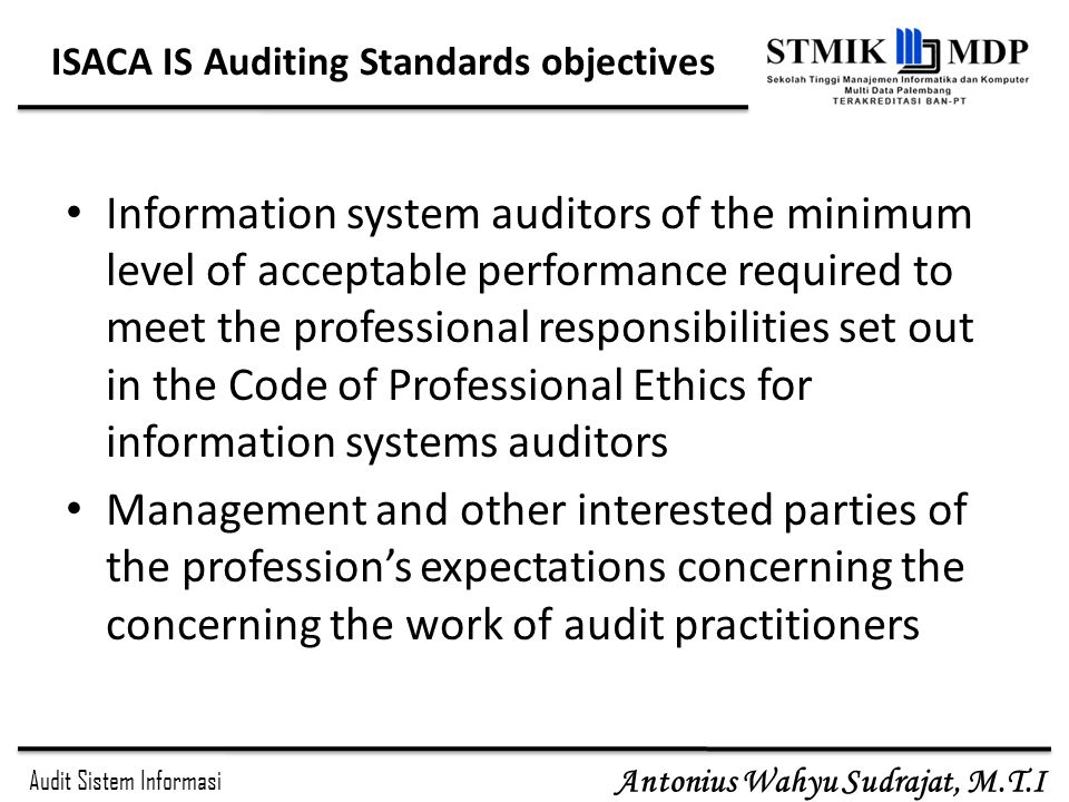 ISACA IS Auditing Standards objectives