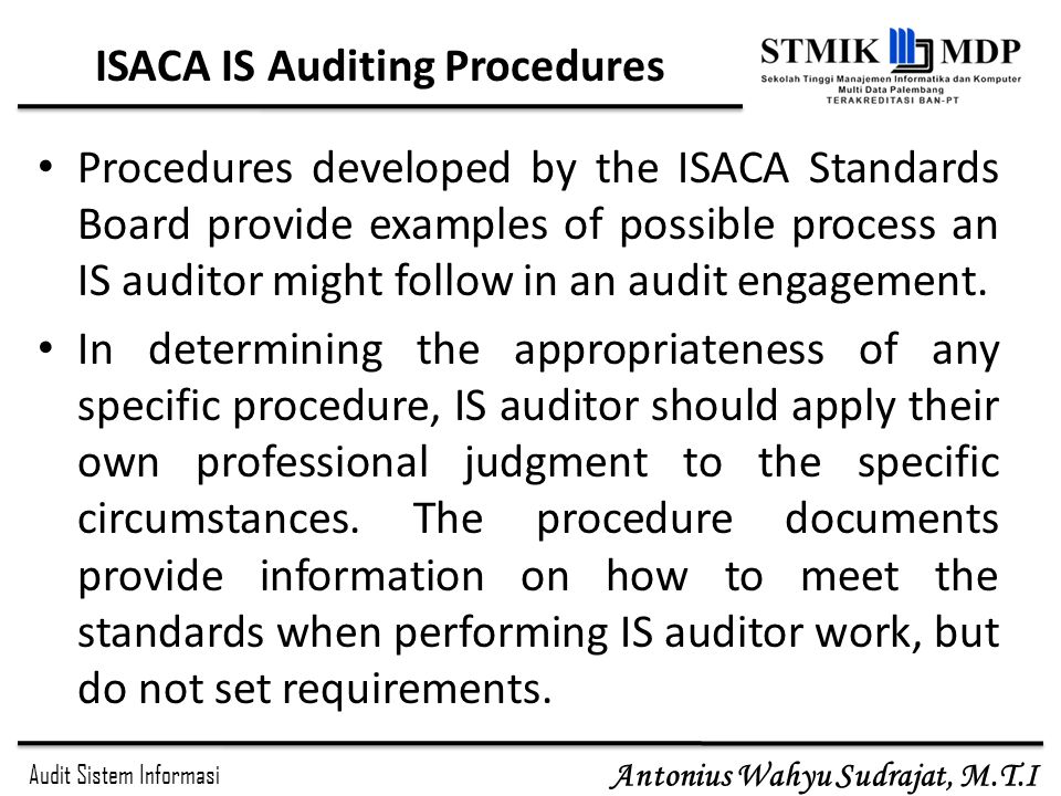 ISACA IS Auditing Procedures