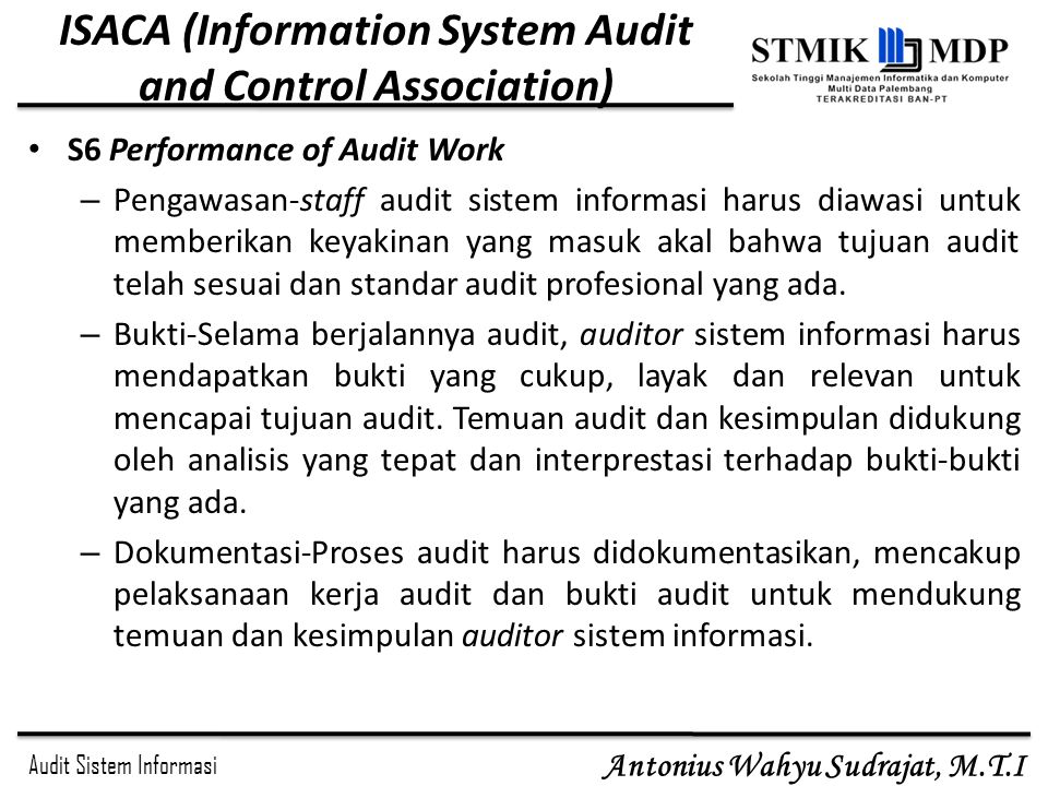 ISACA (Information System Audit and Control Association)