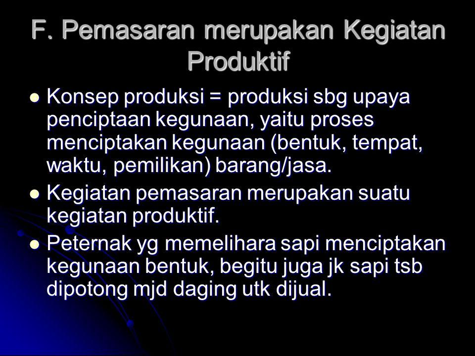 F. Pemasaran merupakan Kegiatan Produktif