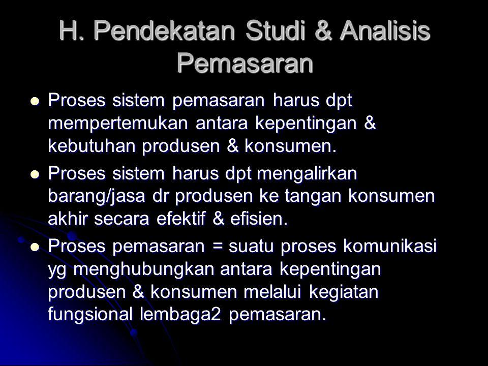 H. Pendekatan Studi & Analisis Pemasaran