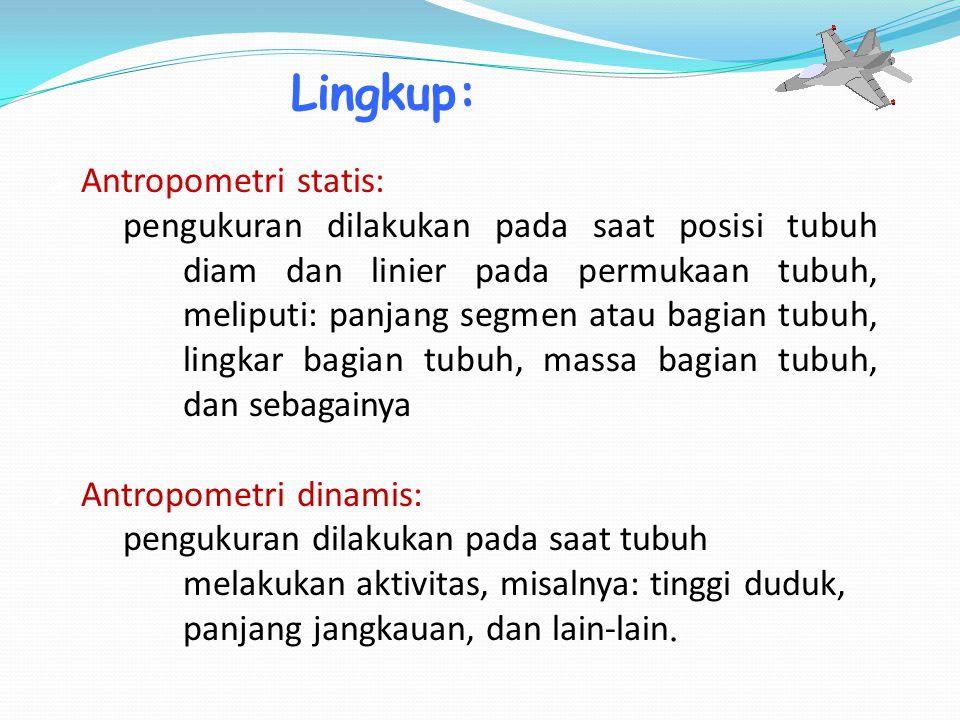 Lingkup: Antropometri statis: