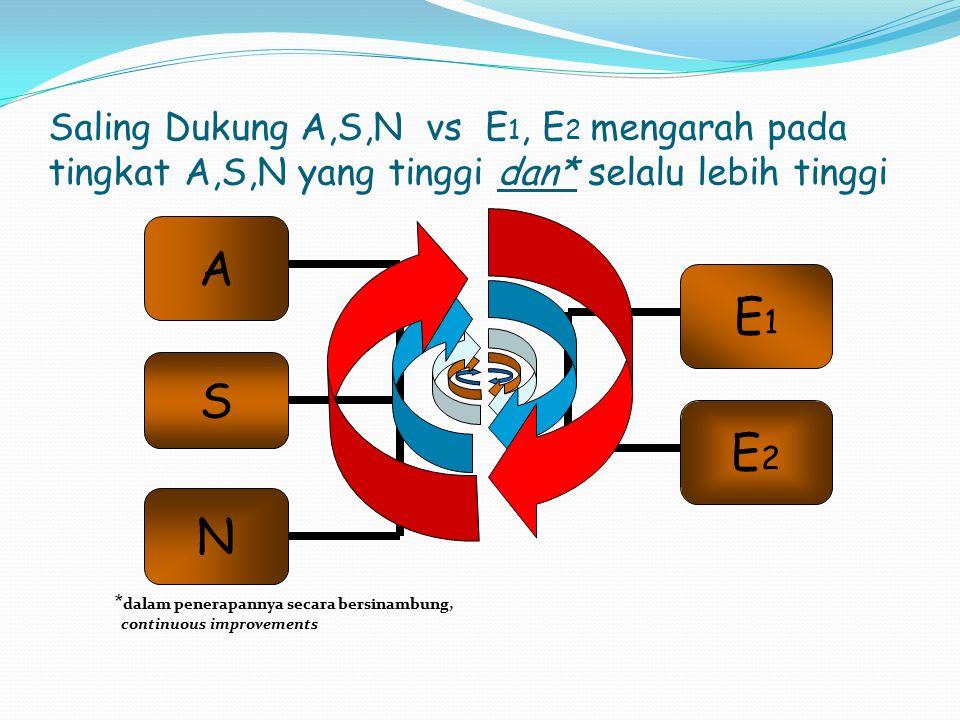Saling Dukung A,S,N vs E1, E2 mengarah pada tingkat A,S,N yang tinggi dan* selalu lebih tinggi