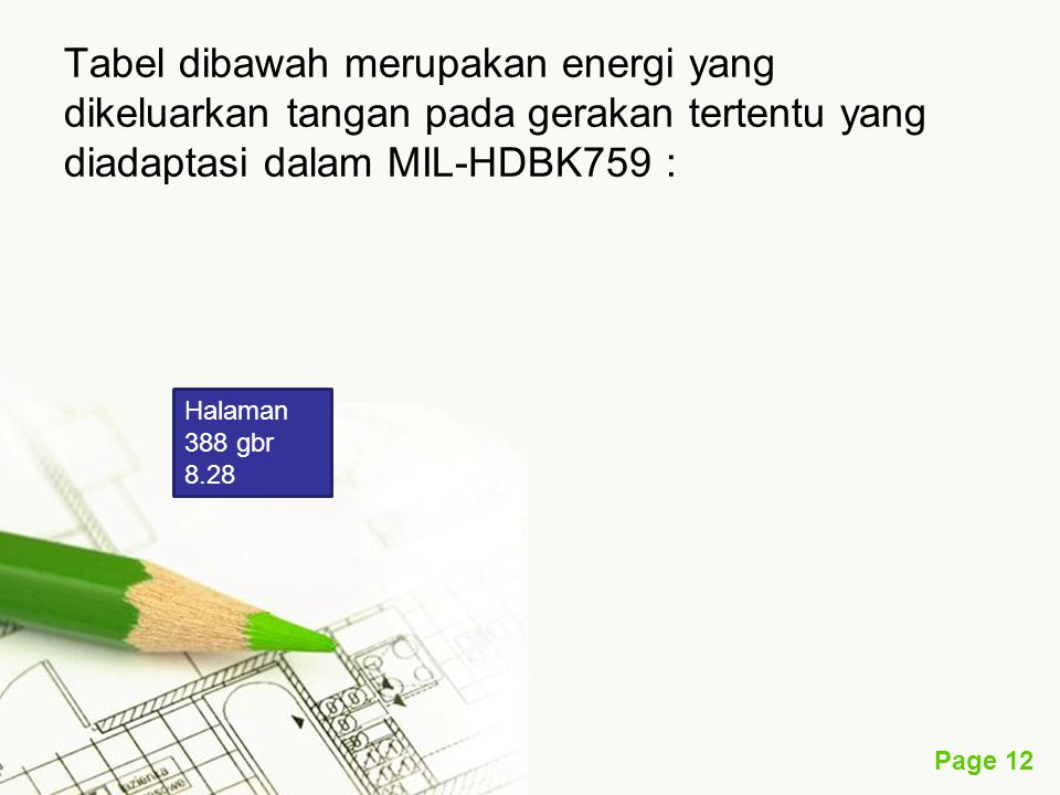 Tabel dibawah merupakan energi yang dikeluarkan tangan pada gerakan tertentu yang diadaptasi dalam MIL-HDBK759 :
