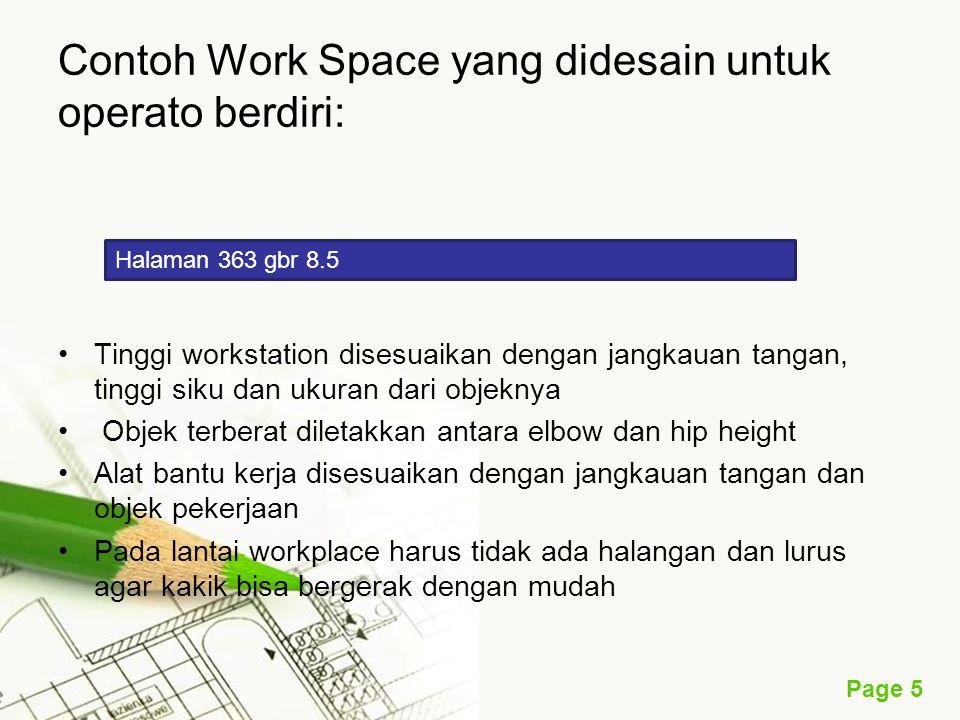 Contoh Work Space yang didesain untuk operato berdiri: