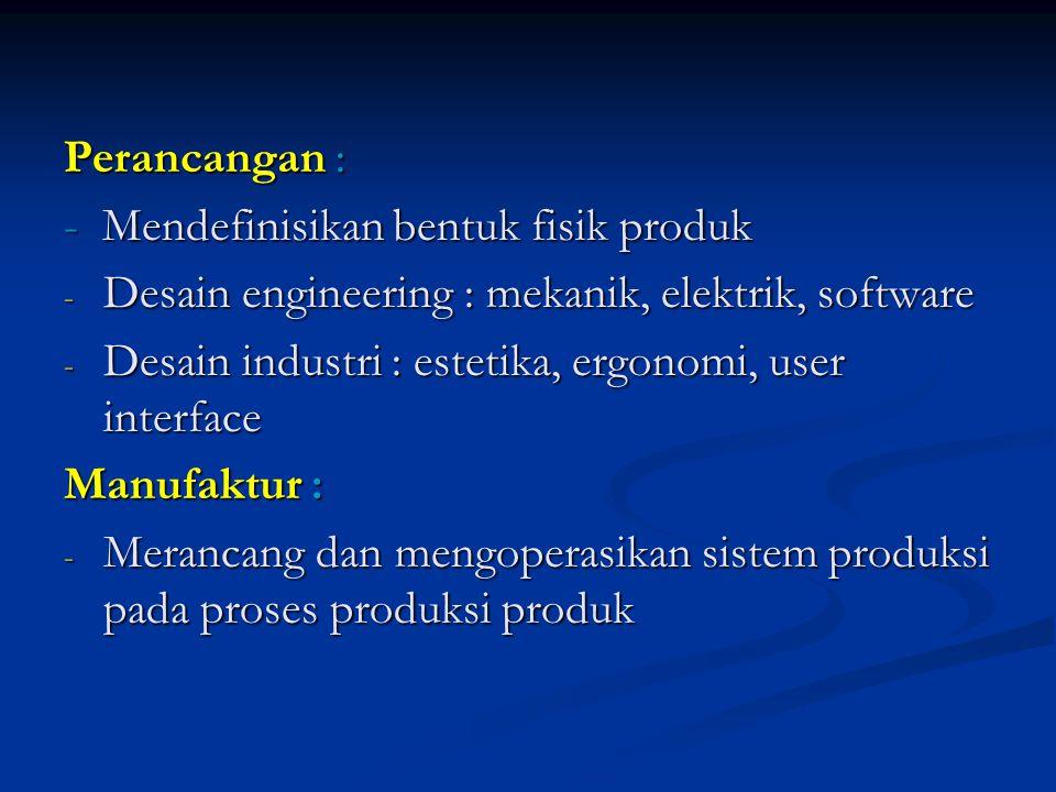 Perancangan : - Mendefinisikan bentuk fisik produk. Desain engineering : mekanik, elektrik, software.