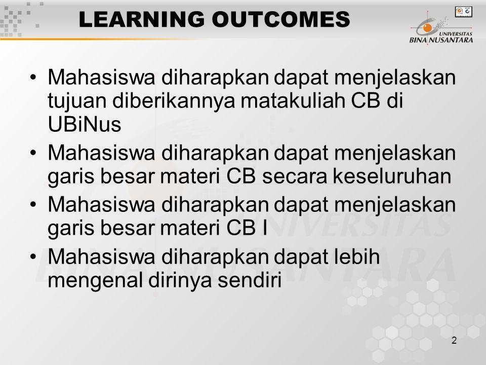 LEARNING OUTCOMES Mahasiswa diharapkan dapat menjelaskan tujuan diberikannya matakuliah CB di UBiNus.