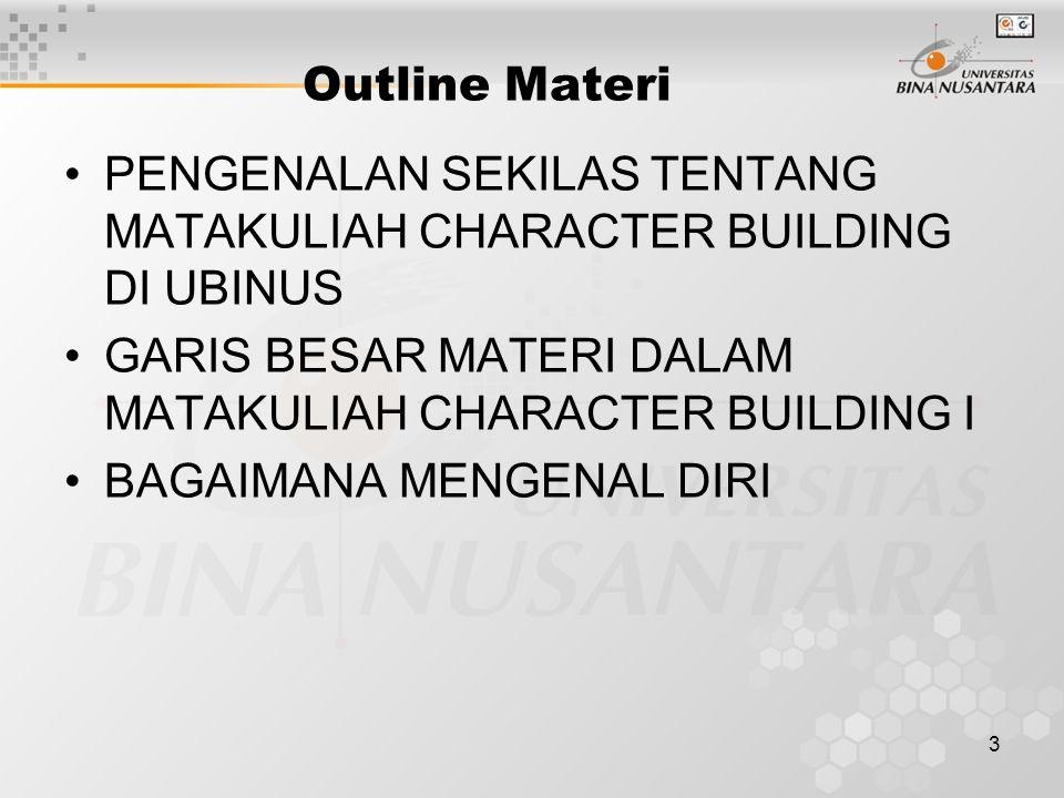 Outline Materi PENGENALAN SEKILAS TENTANG MATAKULIAH CHARACTER BUILDING DI UBINUS. GARIS BESAR MATERI DALAM MATAKULIAH CHARACTER BUILDING I.