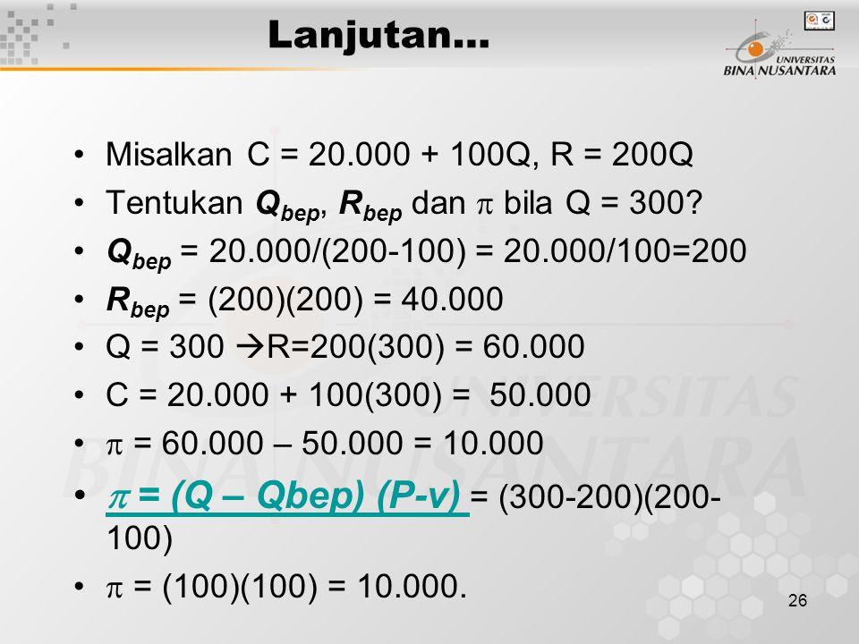  = (Q – Qbep) (P-v) = (300-200)(200-100)