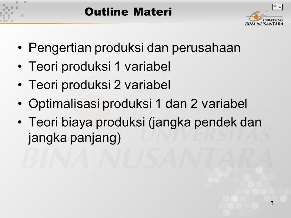 Pengertian produksi dan perusahaan Teori produksi 1 variabel