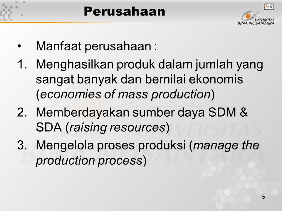 Perusahaan Manfaat perusahaan : Menghasilkan produk dalam jumlah yang sangat banyak dan bernilai ekonomis (economies of mass production)