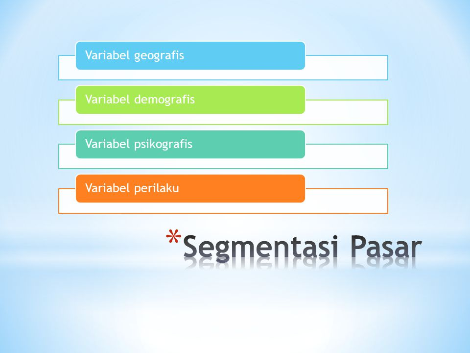 Segmentasi Pasar Variabel geografis Variabel demografis