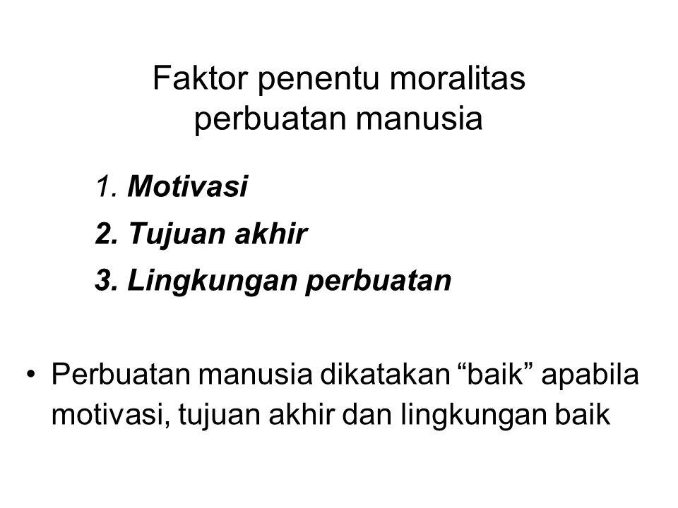 Faktor penentu moralitas perbuatan manusia