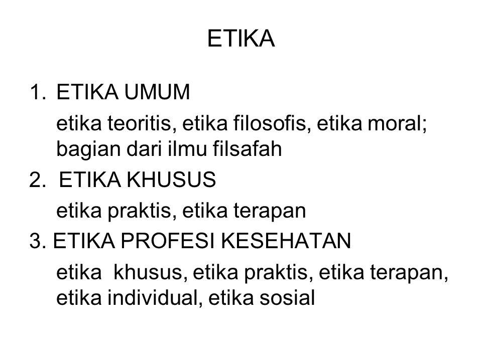 ETIKA ETIKA UMUM. etika teoritis, etika filosofis, etika moral; bagian dari ilmu filsafah. 2. ETIKA KHUSUS.