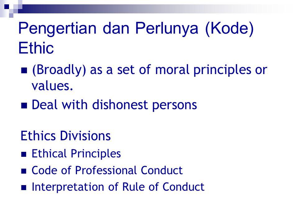 Pengertian dan Perlunya (Kode) Ethic