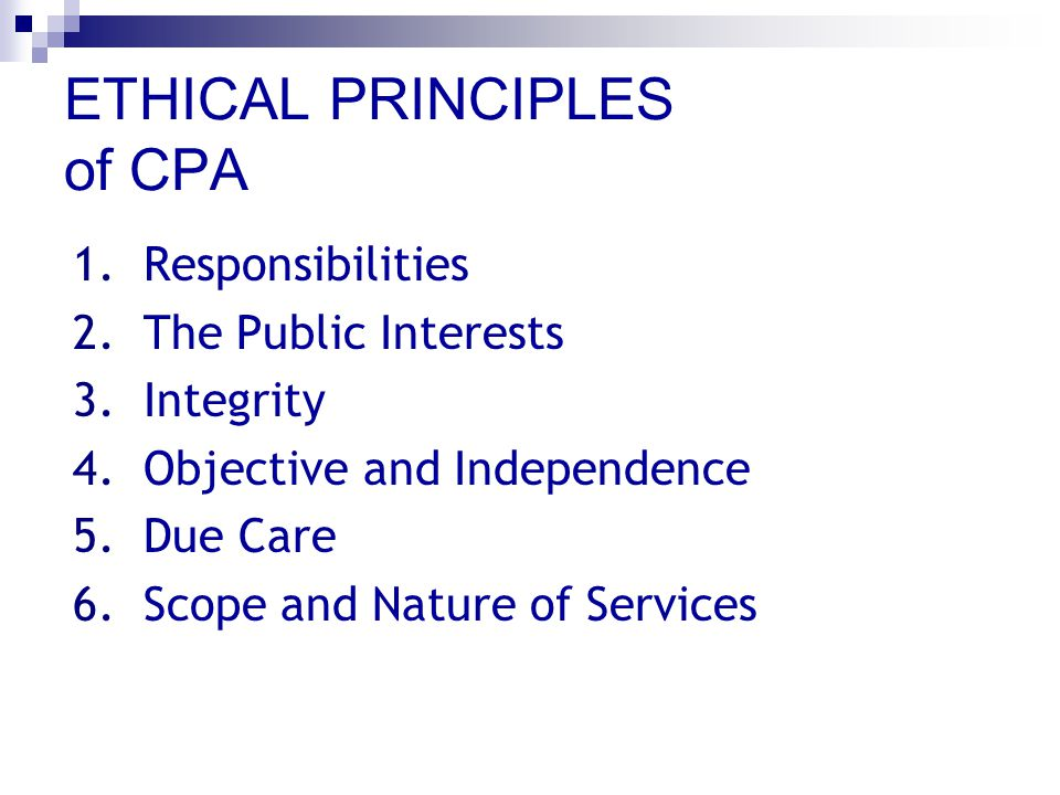 ETHICAL PRINCIPLES of CPA