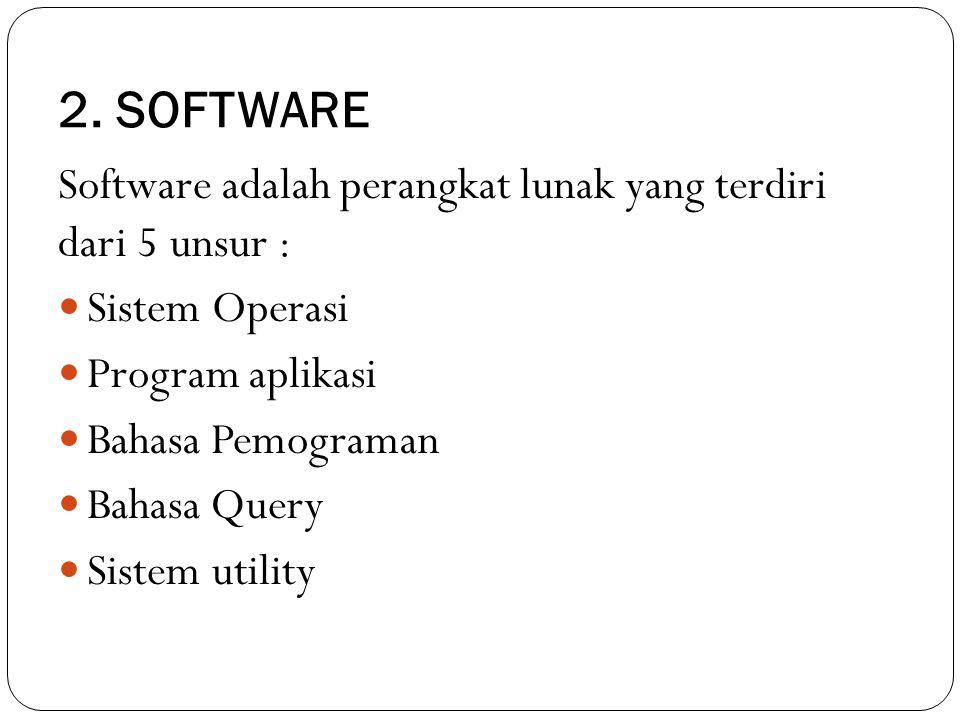 2. SOFTWARE Software adalah perangkat lunak yang terdiri dari 5 unsur : Sistem Operasi. Program aplikasi.