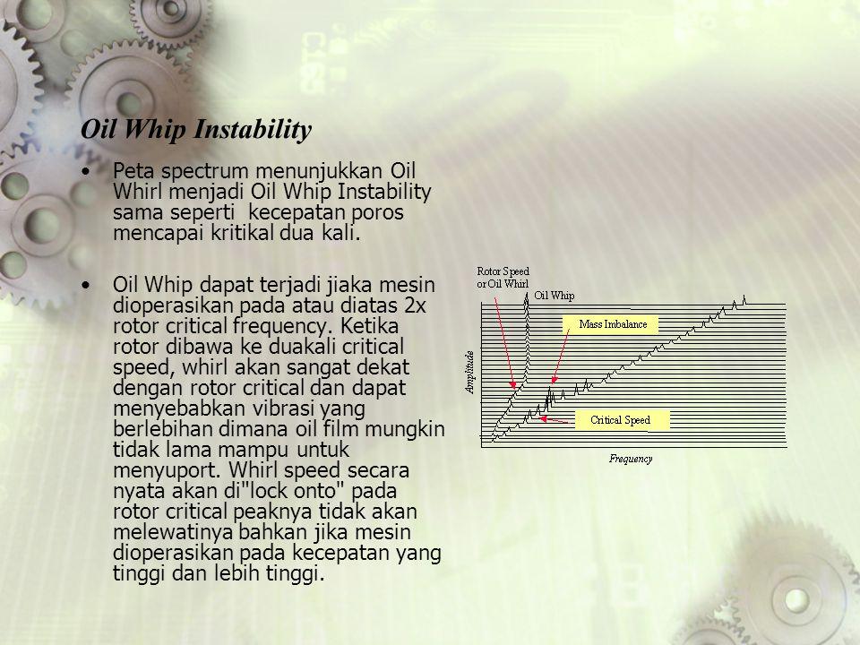 Oil Whip Instability Peta spectrum menunjukkan Oil Whirl menjadi Oil Whip Instability sama seperti kecepatan poros mencapai kritikal dua kali.