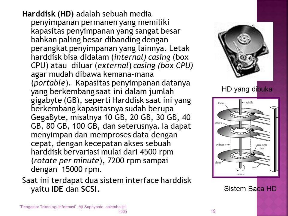 Saat ini terdapat dua sistem interface harddisk yaitu IDE dan SCSI.