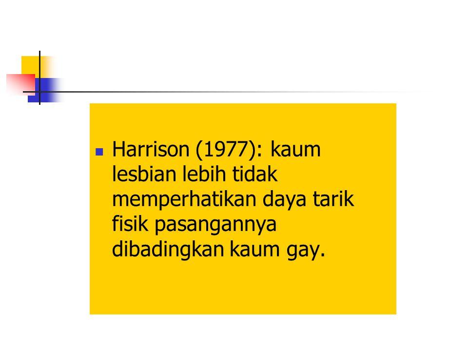 Harrison (1977): kaum lesbian lebih tidak memperhatikan daya tarik fisik pasangannya dibadingkan kaum gay.