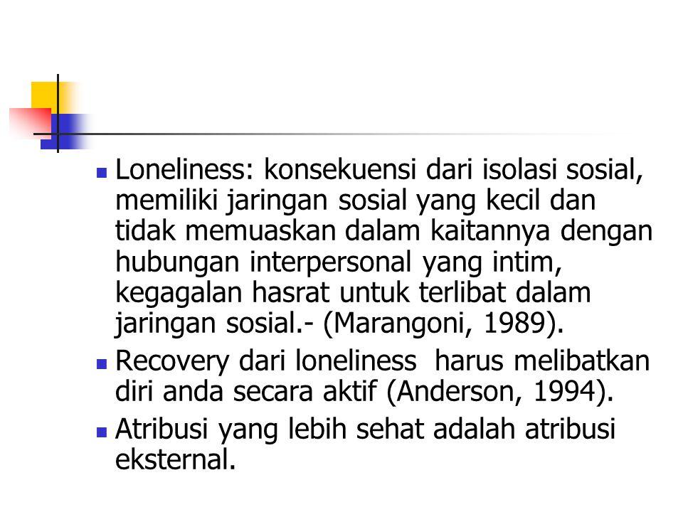 Loneliness: konsekuensi dari isolasi sosial, memiliki jaringan sosial yang kecil dan tidak memuaskan dalam kaitannya dengan hubungan interpersonal yang intim, kegagalan hasrat untuk terlibat dalam jaringan sosial.- (Marangoni, 1989).