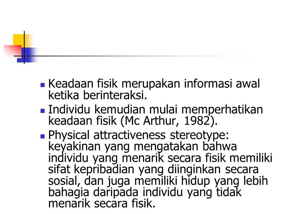 Keadaan fisik merupakan informasi awal ketika berinteraksi.